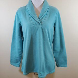Denim & Co. Aqua Cross Over Neck Fleece Sweatshirt